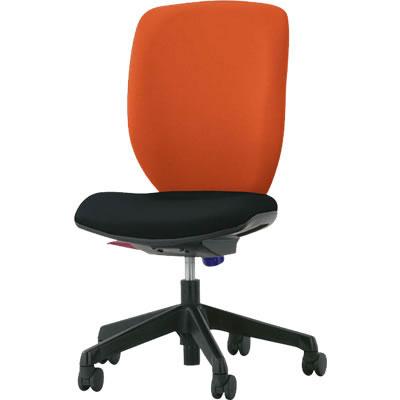 オフィスチェア「シルフィード」布張り 肘無し ハイバック シャインオレンジ