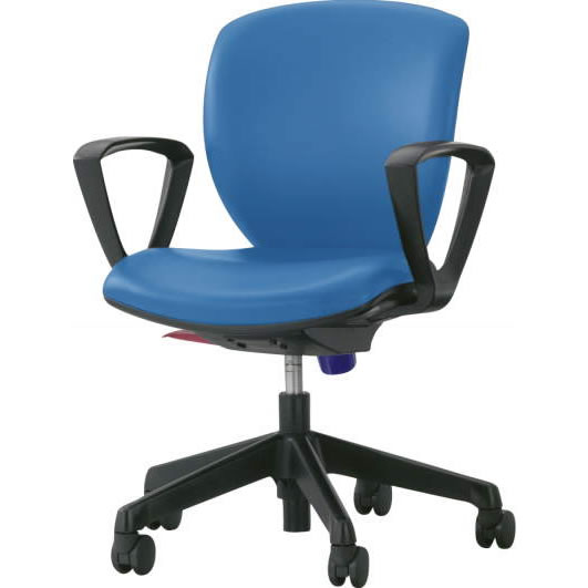 オフィスチェア「シルフィード」レザー張り 肘付き(サークルアーム) ローバック ブルー