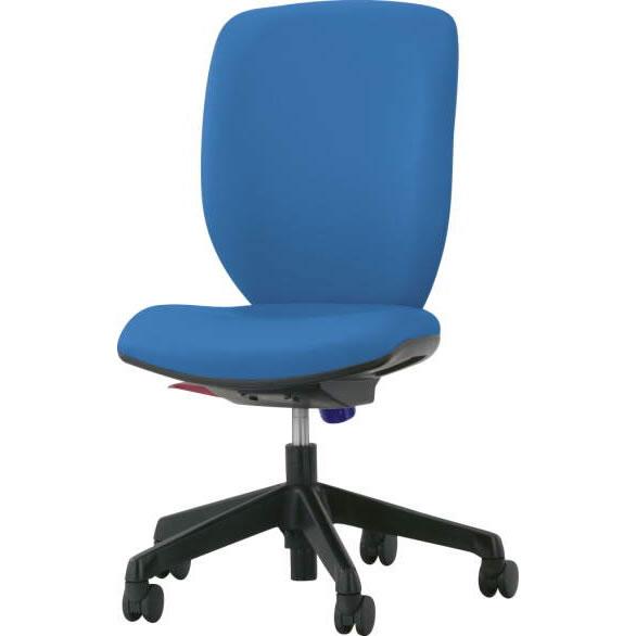 オフィスチェア「シルフィード」レザー張り 肘無し ハイバック ブルー
