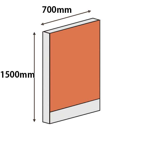 パーテーションLPX 高さ1500 幅700 オレンジ