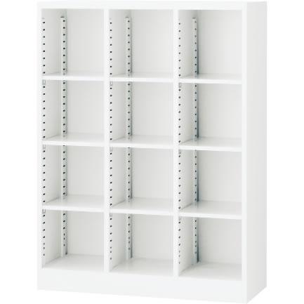オープン書庫(3列) ホワイト 幅900×奥行350×高さ1200mm