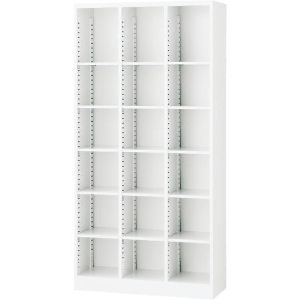 オープン書庫(3列) ホワイト 幅900×奥行350×高さ1800mm