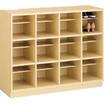 木製ザパート 12人用 オープンシューズボックス 4列3段 中棚付