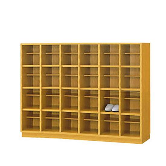 24人用木製シューズボックス オープン(6列4段) 中棚付