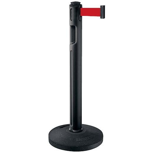 屋外用ベルトパーテーション ゴムベースタイプ ベルトカラー:レッド 支柱カラー:ブラック