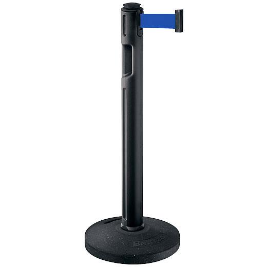 屋外用ベルトパーテーション ゴムベースタイプ ベルトカラー:ブルー 支柱カラー:ブラック