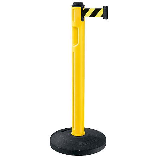 屋外用ベルトパーテーション ゴムベースタイプ ベルトカラー:イエローブラック 支柱カラー:イエロー