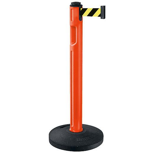 屋外用ベルトパーテーション ゴムベースタイプ ベルトカラー:イエローブラック 支柱カラー:オレンジ
