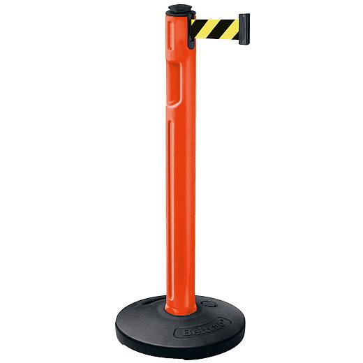 屋外用ベルトパーテーション 注水タイプ ベルトカラー:イエローブラック 支柱カラー:オレンジ