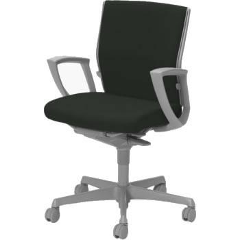 オフィスチェア「エスクード」 ローバック デザインアーム付 ブラック
