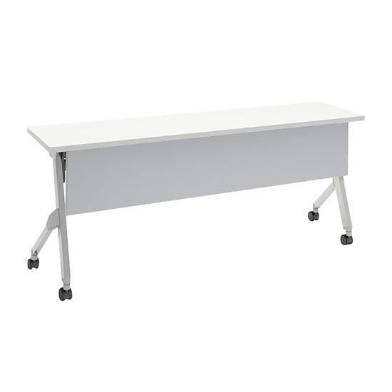 平行スタックテーブル 幅1800×奥行450mm 棚板付 幕板付 ホワイト