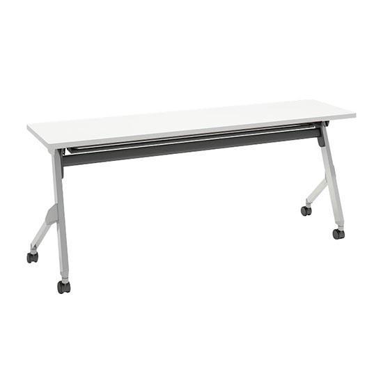 平行スタックテーブル 幅1800×奥行450mm 棚板付 幕板なし ホワイト