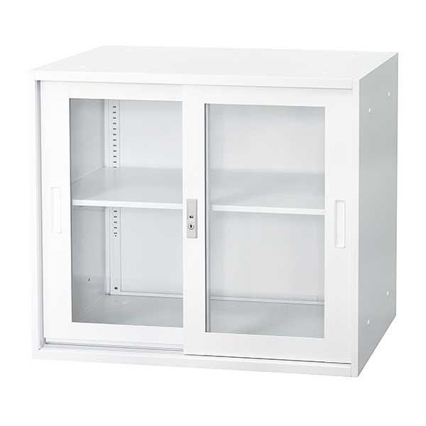 ガラス引違い書庫 上置用 幅880×奥行400×高さ750mm ホワイト
