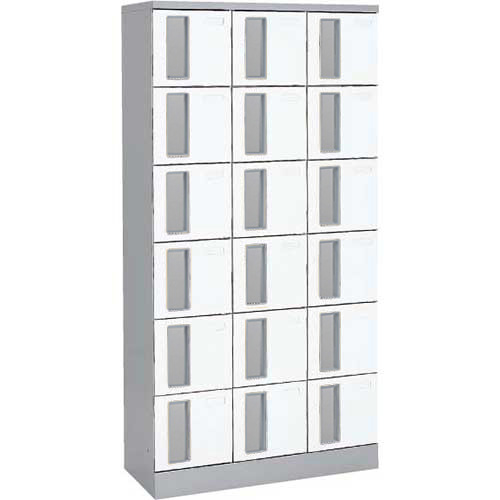 共用スペースザパート扉付18人窓無シリンダー錠 ネオホワイト