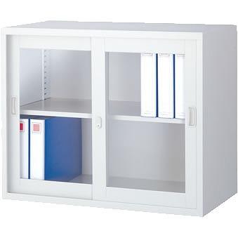 ガラス引戸書庫 上置用 ホワイト 幅880×奥行515×高さ730mm
