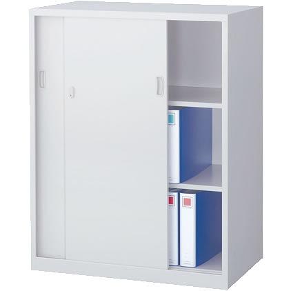 スチール引戸書庫 下置用 ホワイト 幅880×奥行515×高さ1120mm