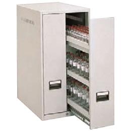 スチール薬瓶保管庫 スライド棚タイプ 上置用 ライトスモーク
