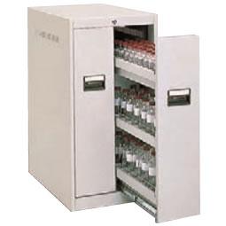スチール薬瓶保管庫 スライド棚タイプ 下置用 ライトスモーク