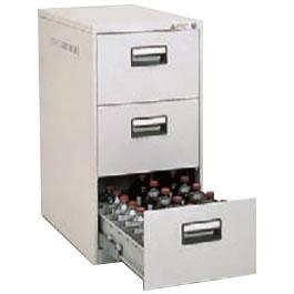 スチール薬瓶保管庫 3段引出しタイプ 下置用 ライトスモーク