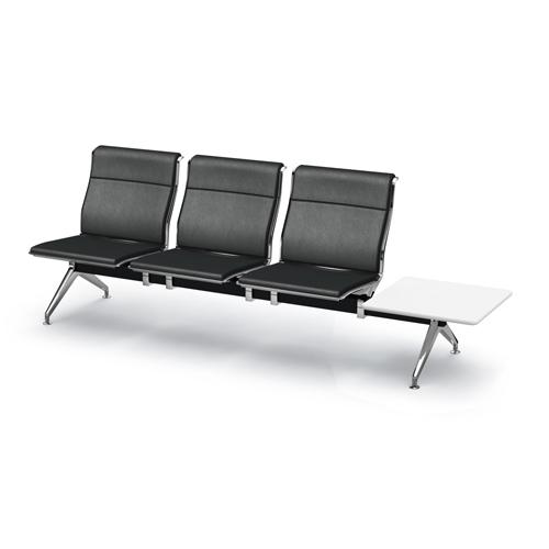 アルブロード 3人用イス 左テーブル付 パンチング ネオブラック