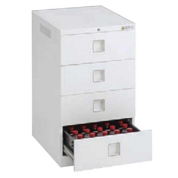 レクトラインラボ 薬瓶保管庫 バーチカル4段 ベース一体下置き ネオホワイト