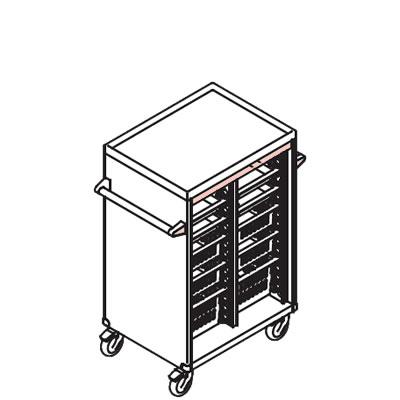リレイト 搬送カート ロータイプ オープン 3×4トレー ピンク