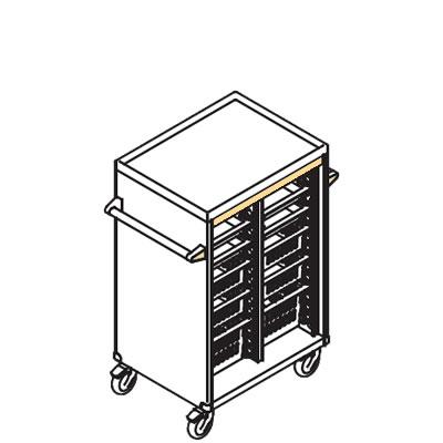 リレイト 搬送カート ロータイプ オープン 3×4トレー イエロー