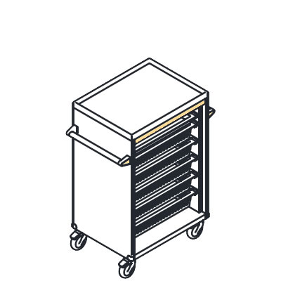 リレイト 高密度搬送カート ロータイプ オープン イエロー