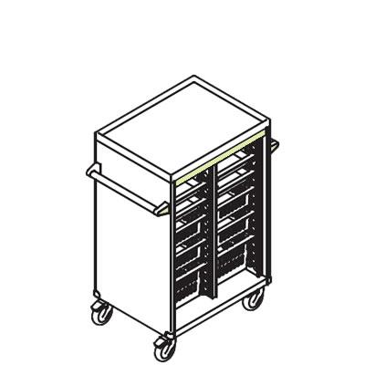 リレイト 搬送カート ロータイプ オープン 3×4トレー グリーン