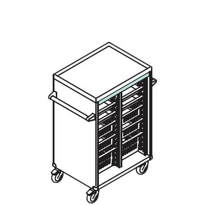 リレイト 搬送カート ロータイプ オープン 3×4トレー ブルー