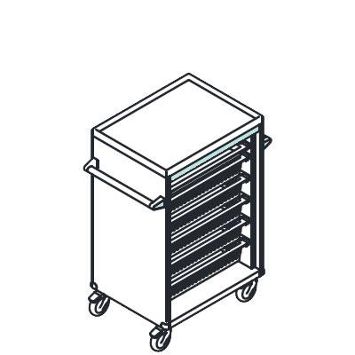 リレイト 高密度搬送カート ロータイプ オープン ブルー