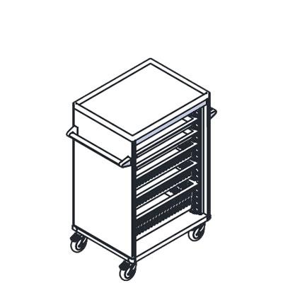 リレイト 搬送カート ロータイプ オープン 6×4トレー パープル