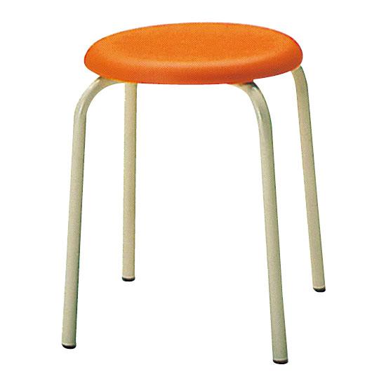 丸椅子Φ330 オレンジ 6脚セット
